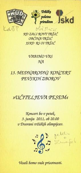 JSKD 2011 13. mednarodni koncert pevskih zborov Učiteljeva pesem vabilo 3a