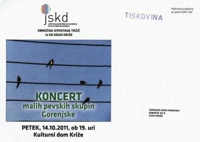 JSKD 2011 Koncert malih pevskih skupin Gorenjske vabilo 3a