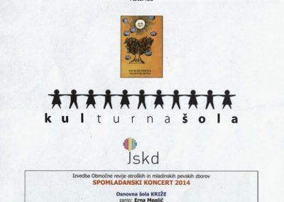 JSKD 2014 Spomladanski koncert Območno srečanje otroških in mladinskih pevskih zborov vabilo 3d