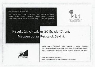 JSKD 2016 Meta fora Literarni večer z avtorji aforizmov širše Slovenije vabilo 3b