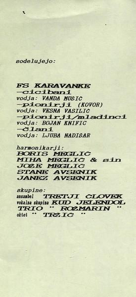 Zveza kulturnih organizacij Tržič 1993 Srečanje ljudskih godcev, pevcev in plesalcev vabilo 3b