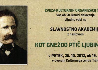 Zveza kulturnih organizacij Tržič 2012 Slavnostna akademija Kot gnezdo ptič ljubim Tržič vabilo 3a